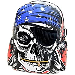 fadsace Calavera Pirata Escuela Bolsa de viaje mochila hombros Bolsa