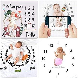 Fotografía para bebés Fotografía de hitos manta Bebé Niño Bebé Niña Semanal Mensual Manta envolvente anual Fotografía Telón de fondo (Hito mensual, 100 X 100 Cm)