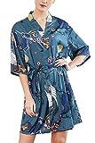YAOMEI Donna Kimono Vestaglia Pigiama Sleepwear, di Seta Raso di Seta del Gru e Fiori Robe Accappatoio Damigella d'Onore da Notte Pigiama, Stile Corto (M, Blu A)