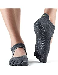 Toesox Full Toe Bellarina Calcetines de Yoga, Unisex Adulto, Gris (Charcoal Grey), M