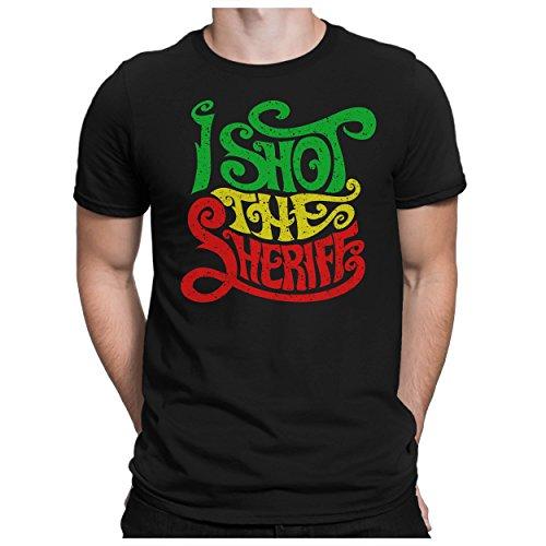 PAPAYANA - I Shot The Sheriff - Herren Fun T-Shirt Bedruckt Jamaika Reggae Musik - XXL - Schwarz