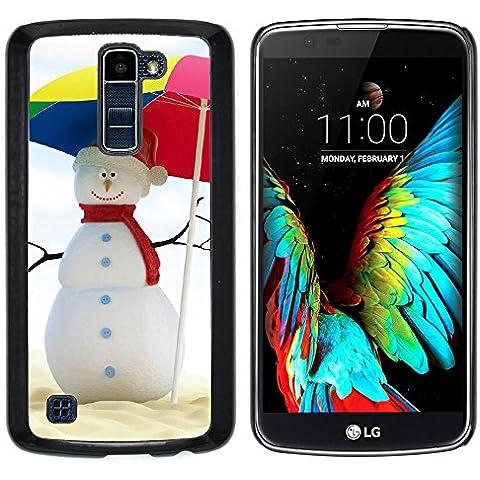 LG K10 / K420N / K430DSF , Cassa Cover Guscio Di Plastica (Estate del pupazzo di neve)