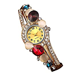 Koly Women's Bangle Crystal Rhinestone Bracelet Quartz Watch Wristwatch