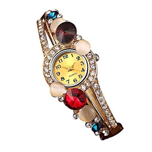 Koly Women's Bangle Crystal Rhinestone Bracelet Quartz Watch Wristwatch