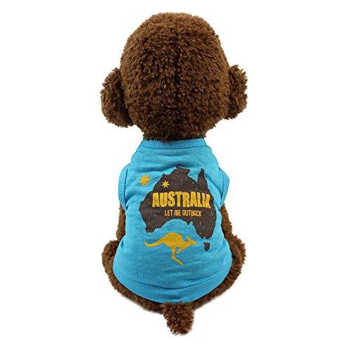 Pet Kleidung,Nettes Molliges Schoßhund-Katzen-T-Shirt,Sommer Hundebekleidung Kleine Hunde Haustier Katze T-Shirt Kostüme,für Kleine Hunde,Welpen,Schnauzer,Teddy,Pudel,Chihuahua (Blau, XS) (Kostüm Für Mini Schnauzer)