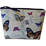 Butterfly Toiletries Bag, Women's Wash Bag, Large Make Up Case, Cosmetics Bag, Cotton Canvas Fabric, Waterproof Lining