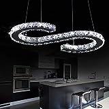 LOCO Lusso moderno Plafoniera a LED K9 Cristallo Illuminazione a sospensione in acciaio inox Sala da pranzo Lampadario Contemporaneo Cavo regolabile in acciaio inox (S Design)