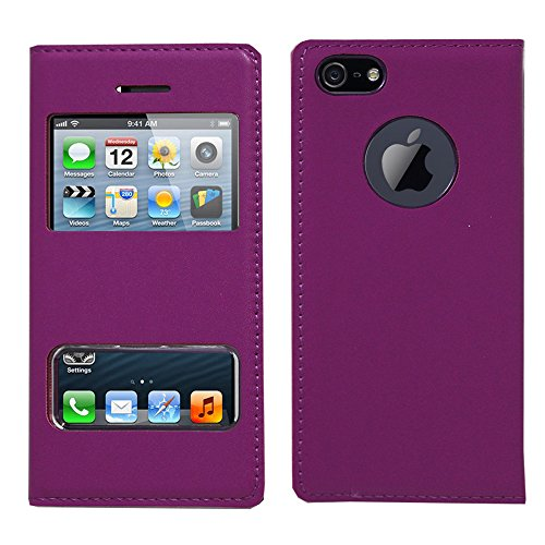 VCOMP® Etui Housse Coque flip cover View compatible pour Apple iPhone 5/ 5S/ SE + stylet - VIOLET VIOLET