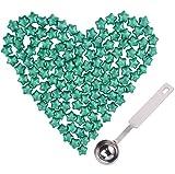 70g / 120pcs Cuentas de cera de Sellado Retro Europeos Set Star Beads de Cera de Sellado con luz de té, Escala de Cera Grabada de Bronce Antiguo y Cuchara de Fusión (Verde)