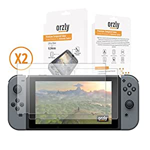 Pellicole Protettive per Nintendo Switch - Protettori Schermo Orzly in Vetro Temperato Premium [0.24mm] per lo schermo del Tablet Nintendo Switch da 6.2 Pollici - Confezione DOPPIA