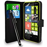 Nokia Lumia 625 - Premium Leather Wallet Flip Case Cover Pouch + Long Touch Stylus Pen + Mini Touch Stylus Pen + Screen Protector & Polishing Cloth (Wallet Black)