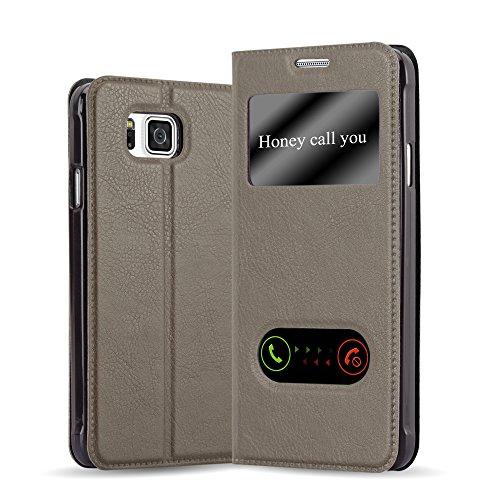 Cadorabo Hülle für Samsung Galaxy Alpha - Hülle in Stein BRAUN – Handyhülle im Standfunktion und 2 Fenstern (View Design) - Case Cover Schutzhülle Etui Tasche Book Klapp Style