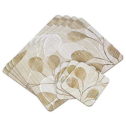 Set of 4 Placemats & 4 Coasters - Grey Leaves Floral