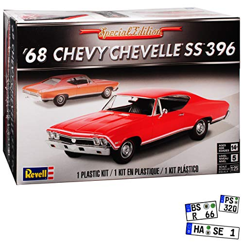 Chevrolet Chevy Chevelle SS396 Coupe Rot 2. Generation 1968-1972 Bausatz Kit 1/24 1/25 Revell Modell Auto (Chevy-kits Modell)