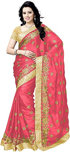 JULEE Women's Satin Embroidered Designer Saree (Free Size_Pink)