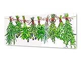 KD Dsign+ Glasbild Wandbild GLX12571255405 Kräuter Küche 125 x 50cm / inkl Aufhängesystem