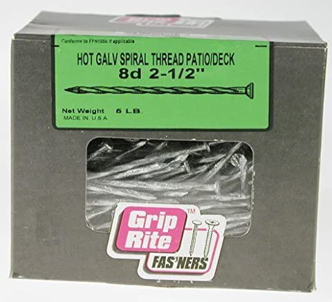 Grip-Rite 2-1/2 in. 8D Hot-Galvanized Spiral-Shank Deck Nails (5 lb. Pack) by Grip-Rite