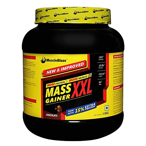 MuscleBlaze Mass Gainer XXL, Chocolate 1.5 kg / 3.3 lbs