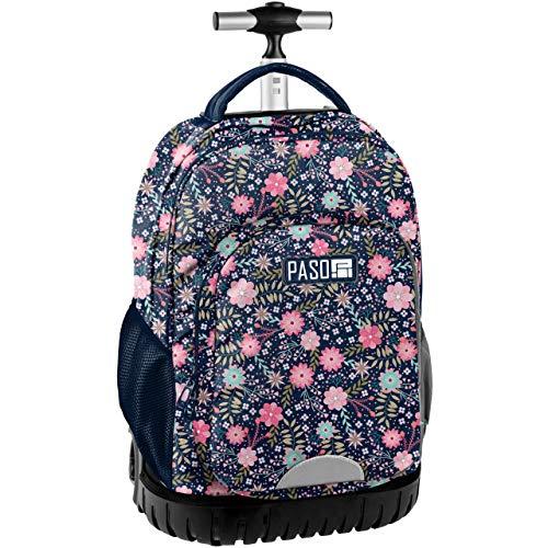 Paso fiori margherite grande zaino con ruote trolley xxl scuola media, elementare, ragazza, bambina