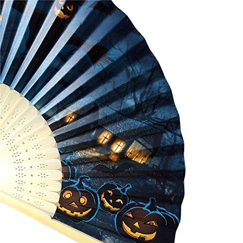 VEMOW Heißer Halloween Party Kürbis schädel spinne Hexe Handgeschnitzten Bambus Folding Fan Stil Holz(I, 23cm*40cm) (Ursprung Des Halloween-kürbis)
