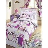 Hoot Owl Lilac Junior Toddler Bed Size Duvet Cover & Pillowcase Set by Bedmaker
