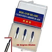 Roland – Cuchillas de corte de 60 grados, carburo cementadas, paquete de 3