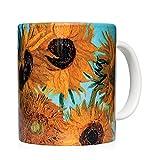 Taza mug desayuno de cerámica blanca 32 cl. con impresión de obra de arte cuadro 'Jarrón con doce girasoles' autor Van Gogh