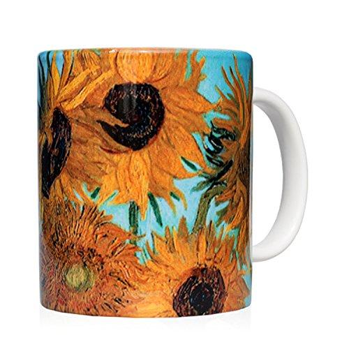 Tasse Mug petit-déjeuner en céramique blanche 32 cl. avec œuvre d'art imprimée Vase avec douze tournesols, auteur Vincent Van Gogh