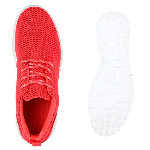 Damen Laufschuhe Profilsohle Runners Sportschuhe Schnürer Coral