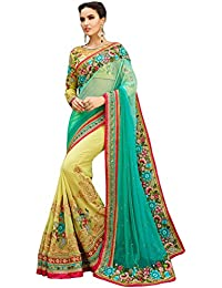 Magneitta Women'S Georgette Saree With Blouse Piece(53396_Sky Blue_Free Size)