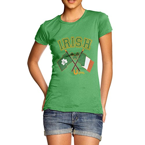 Patricks Day Irish T-shirts (TWISTED ENVY Damen T-Shirt Irish Flag St Patricks Day Print Medium Grün)