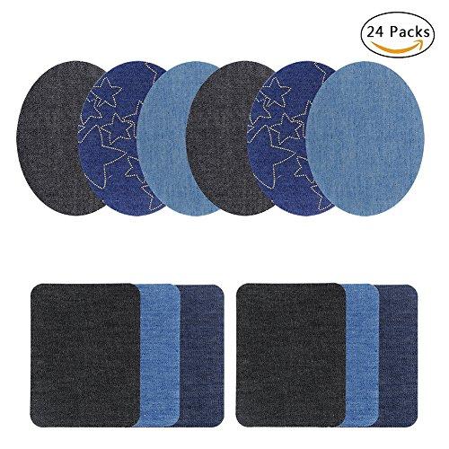 Denim-patch-kit (Eisen auf Patches Denim No-Sew Shades Aufbügeln Reparatur-Kit für Kleidung Jeans, Assorted, 24 Packs)