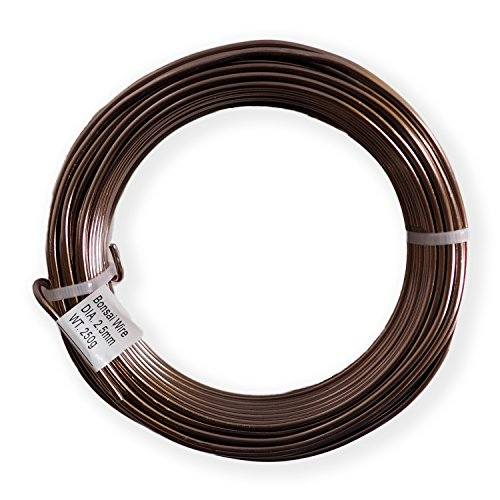 Grow A Bonsai Tree Anodized Aluminium 2.5mm Bonsai Training Wire 250g Large Roll (60 Feet) - Choose Your Size and Color - (2.5mm, Brown)
