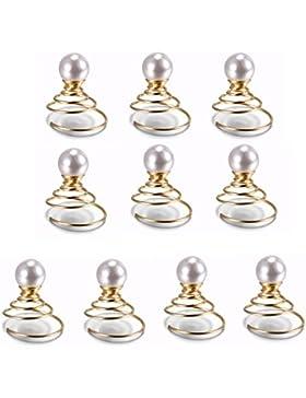 tinxi® Pack 10 Haarschmuck Perlen 8mm Kunstperlen Curlies Brauthaarschmuck haarschmuck braut Farbe weiße