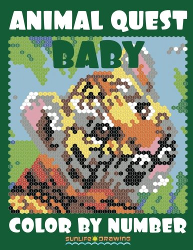 BABY ANIMAL QUEST Color by Number: Activity Puzzle Coloring Book for Adults Relaxation & Stress Relief: Volume 3 (Quest Coloring Books)