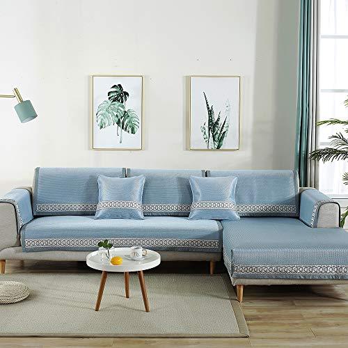 cab7b03b7171 Qin Funda de sofá, Funda de sofá Ice Silk Summer Cool Pad Seccional Antideslizante  Funda