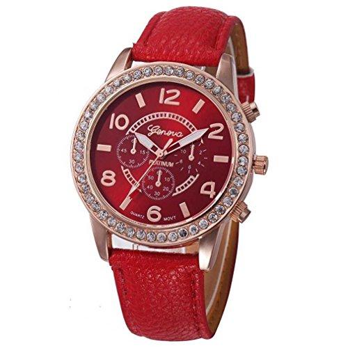 FitT Orologio da Polso da Donna al Quarzo analogico in Pelle con Diamante di Lusso, Classico Orologio da Donna (Rosso)