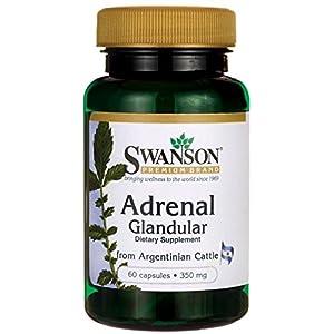 Swanson – Raw Adrenal Glandular 350 mg, 60 capsules – Unverarbeitetes Nebennieren Glandular Kapseln – Reine und Natüraliche Drüsengewebe Nebennierenrinde von Rindern