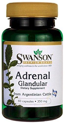Swanson - Raw Adrenal Glandular 250mg, 60 capsules - Unverarbeitetes Nebennieren Glandular Kapseln - Reine und Natüraliche Drüsengewebe Nebennierenrinde von Rindern