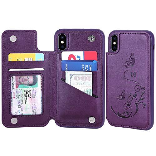 iPhone XS MAX Leder-Schutzhülle für Damen und Herren, 5 Kartenfächer, Schmetterlingsblumen-Design für iPhone 6S Plus, Purple compact with XSMAX