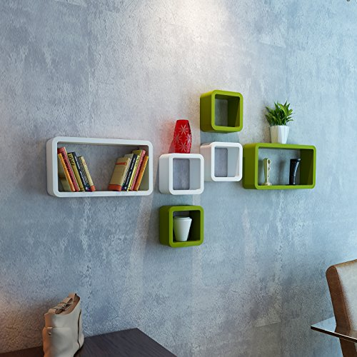DecorNation Wall Shelf Set of Six Cube Rectangle Designer Wall Rack Shelves - Green & White