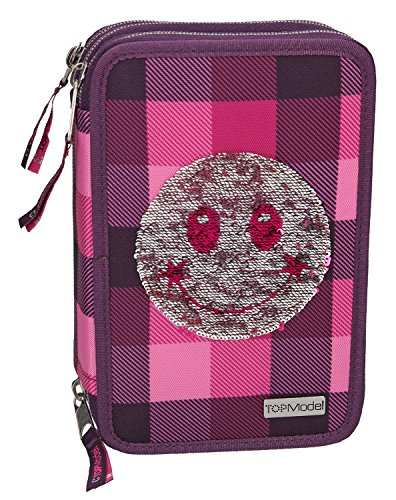 Depesche 8821 - Federtasche 3 Fach Top Model, Pailletten Lila Smiley