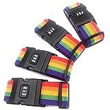 Koffergurt Kofferband Gurt - 4 Stück Gepäckband Verstellbare Regenbogen Gepäckgurte Travel Accessorie