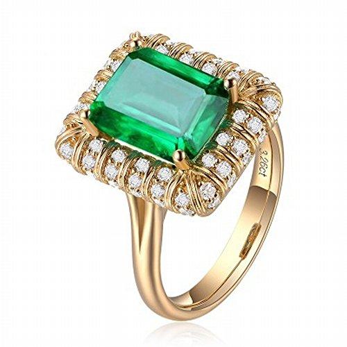 HJWMM Europäischer Und Amerikanischer Smaragd-Ring, Verlobungs-Retrostil-Diamantring,18Mm