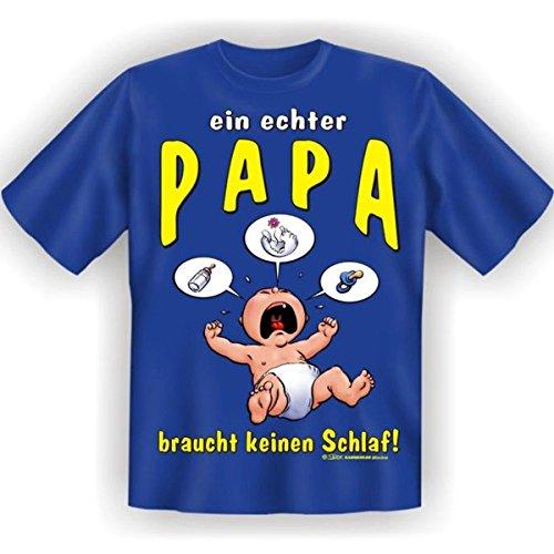 Lustiges T-Shirt für den Papa mit Urkunde Weihnachtsgeschenk für Pap Fun T-Shirt ein echter Papa braucht keinen Schlaf! Royal-Blau