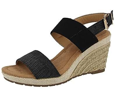 Foster Footwear Sandali con Zeppa da Ragazza' Donna, Nero (Black Snake PU), 38 EU