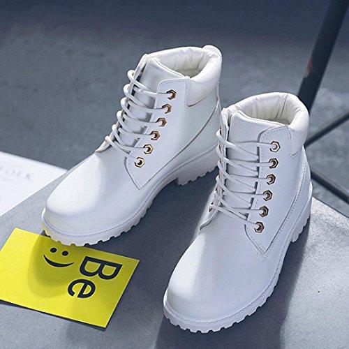 Longra Scarpe basse casuali stivali bassi in pelle artificiale in pelle solida Donne scarpette casual stivali scarpe corti stivali martin Bianco
