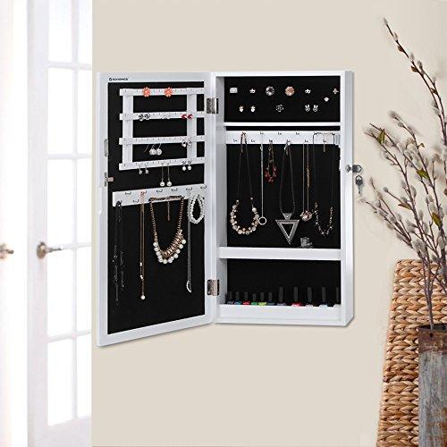 Songmics Hängend Schmuckschrank Wandspiegel zum Hängen mit Tür und Magnetverschluss weiß JBC51W - 2
