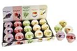 Eine Badekugel 180g, versch. Düfte/Farben : Lavendel/lila, Rose/rosa, Zitronengras/grün, Milch & Honig/weiß, Vanille/creme