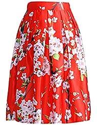 Moollyfox Mujeres Floral Impreso Pretina Elástico Plisada De La Falda De Midi Abocardada Ocasional Rojo
